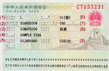 China Visum Beispiel